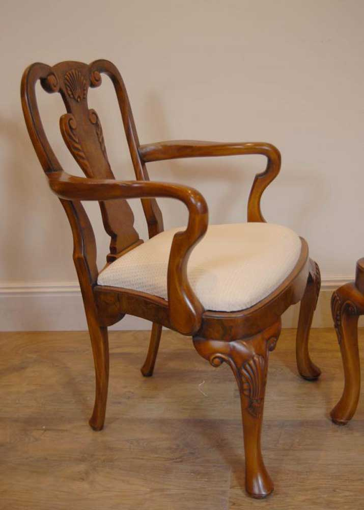 regency walnut dining table set queen anne chairs tables