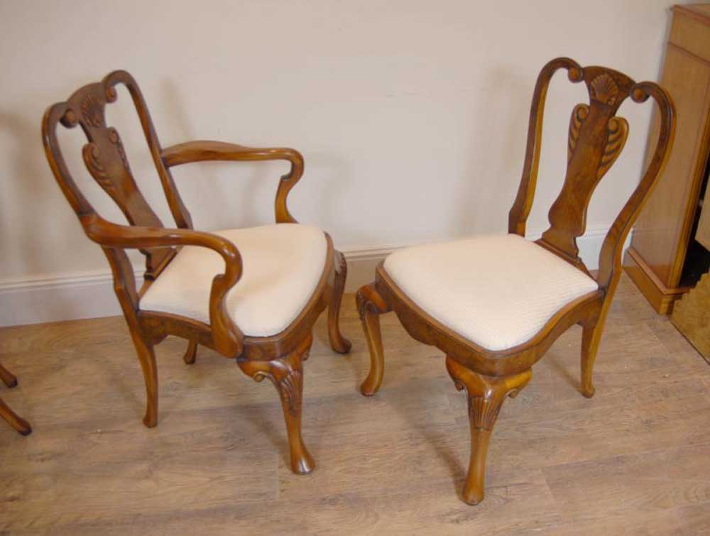 Regency walnut dining table set queen anne chairs tables for Queen anne furniture