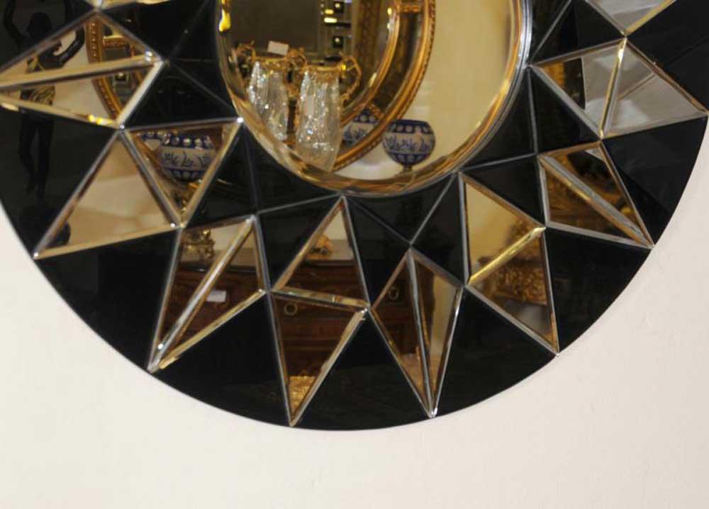 round art deco glass mirror interior design. Black Bedroom Furniture Sets. Home Design Ideas