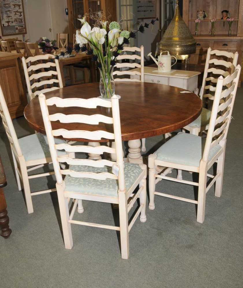 Painted Round Kitchen Table And Chairs: Round Farmhouse Painted Kitchen Dining Table Oak
