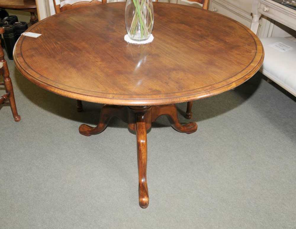 Round oak farmhouse dining table english furniture - Round oak dining tables ...