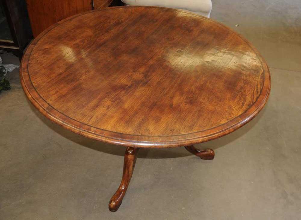 Round oak farmhouse pedestal dining table - Round oak dining tables ...