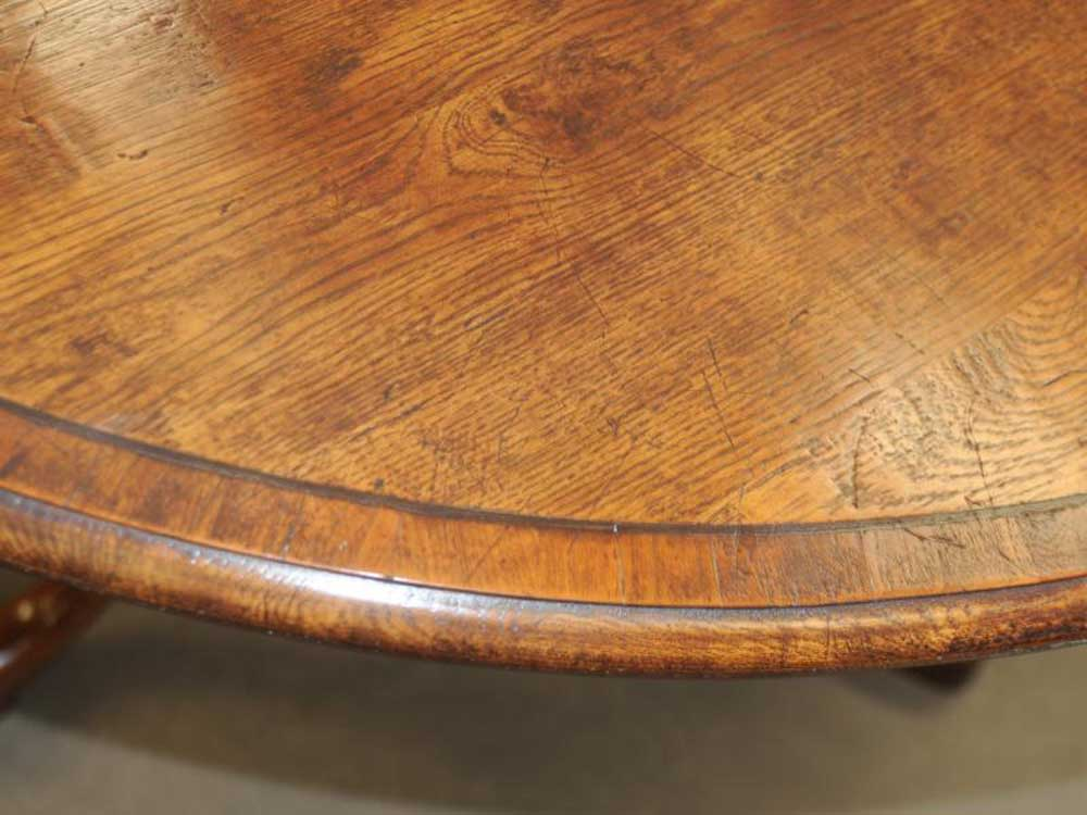 Round Oak Farmhouse Pedestal Dining Table