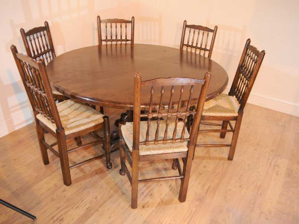 Round oak farmhouse refectory table kitchen dining - Round kitchen table for ...