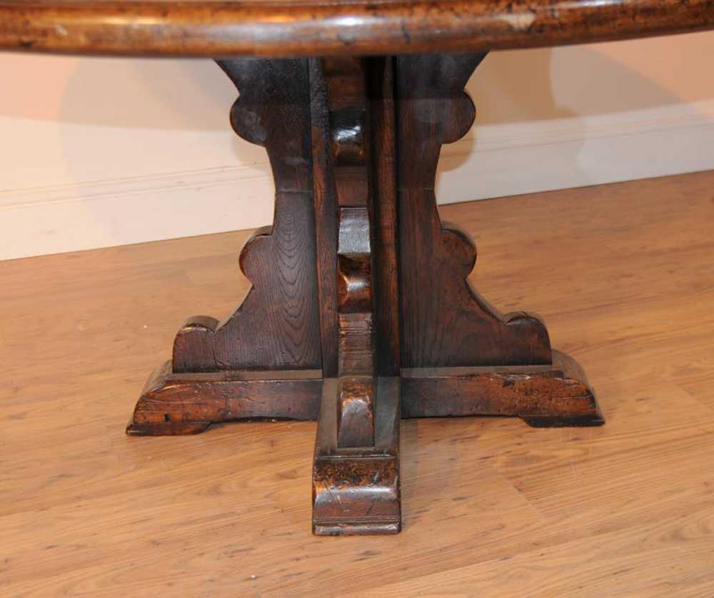 Round Oak Farmhouse Refectory Table Kitchen Dining