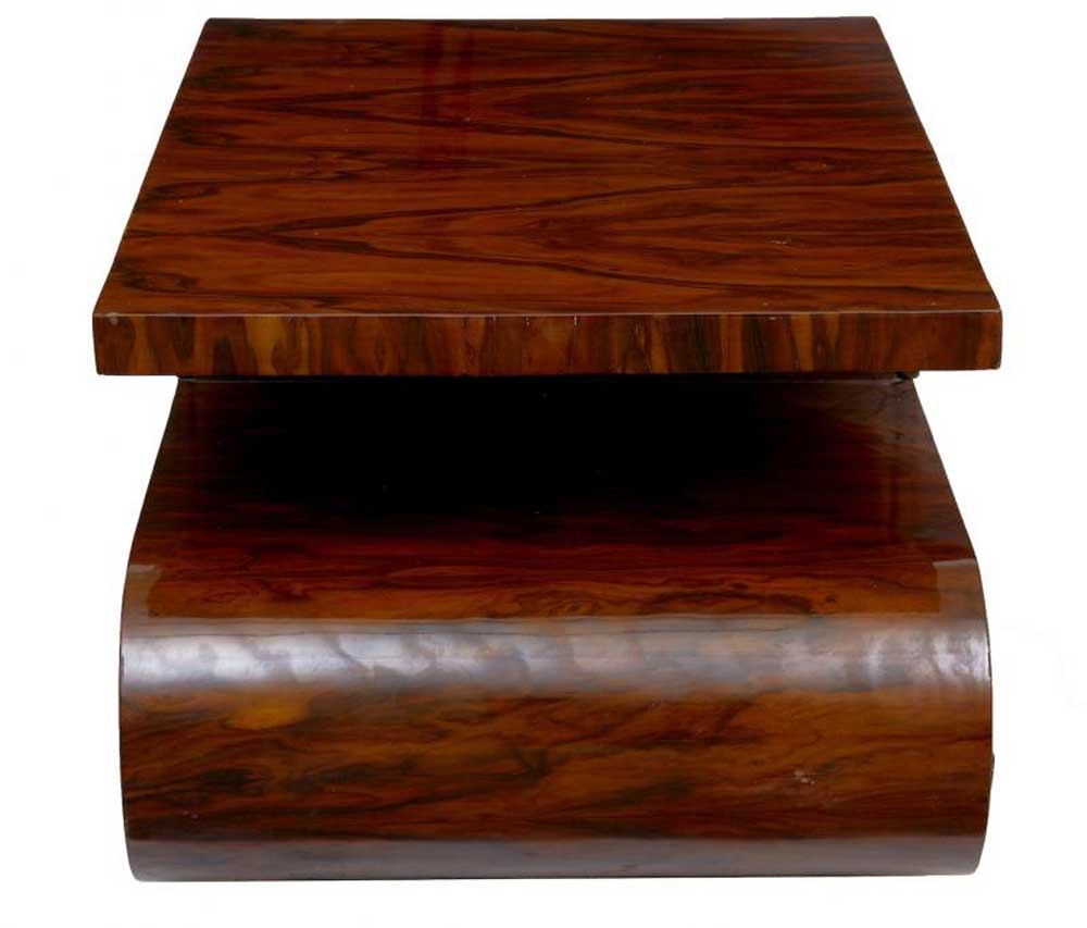 S Shaped Art Deco Coffee Table Walnut Cocktail Tables