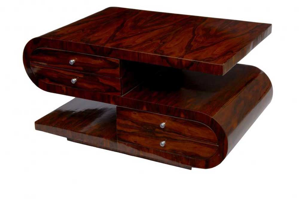 S Shaped Art Deco Coffee Table Walnut Cocktail Tables Furniture