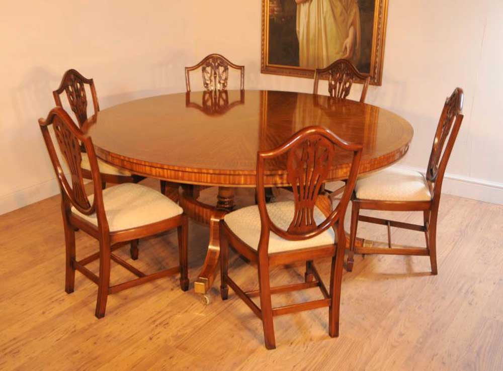Satinwood Regency Round Dining Table Centre Tables Inlay