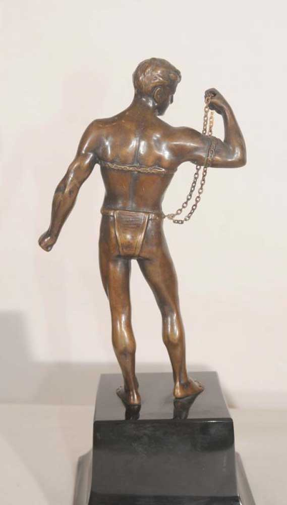 Semi Naked Bronze Male Figurine Statue Bondage Chained Man