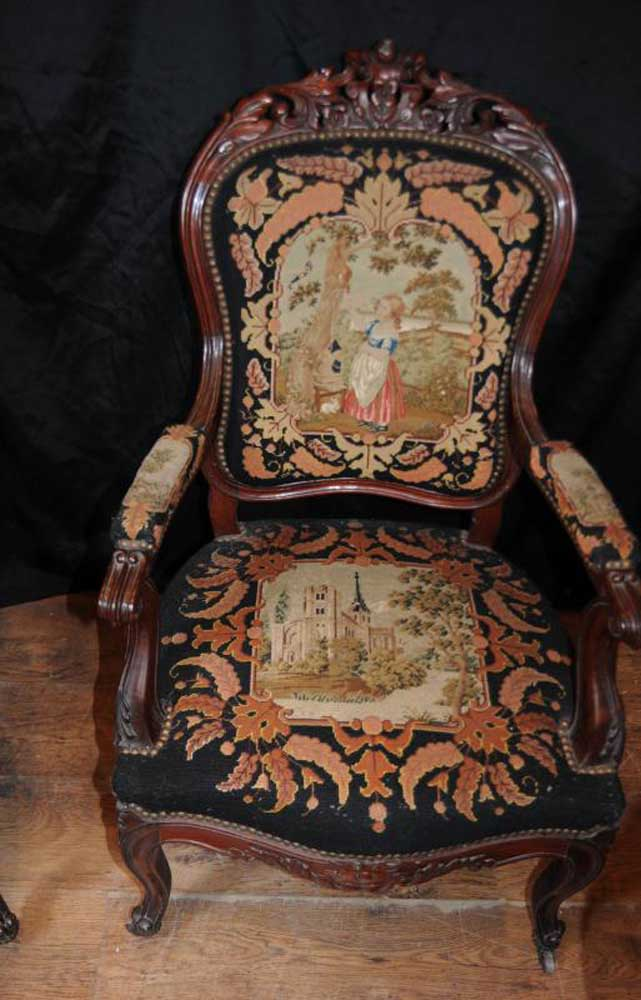 Set 4 Antique Woven Arm Chairs Seats Mahogany Tapestry Fauteil