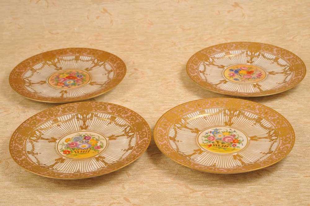 set 4 french limoges jp porcelain plates dishes. Black Bedroom Furniture Sets. Home Design Ideas