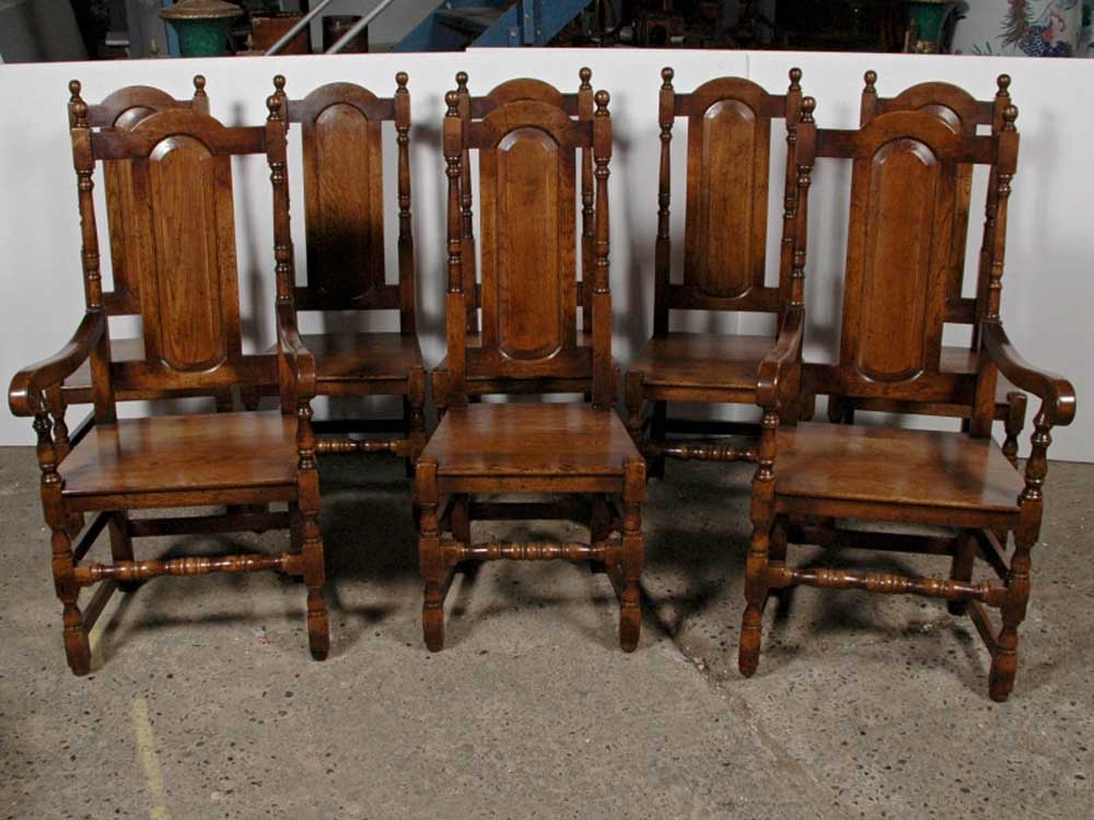 set 8 english elizabethan tudor oak dining chairs chair. Black Bedroom Furniture Sets. Home Design Ideas