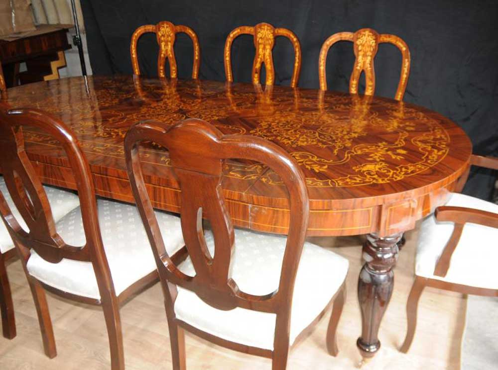 Set 8 Italian Marquetry Dining Chairs Inlay Arm Chair Diners