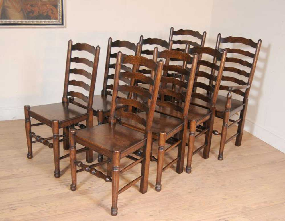 Set 8 oak ladderback chairs kitchen dining chair farmhouse for Oak farmhouse kitchen table and chairs