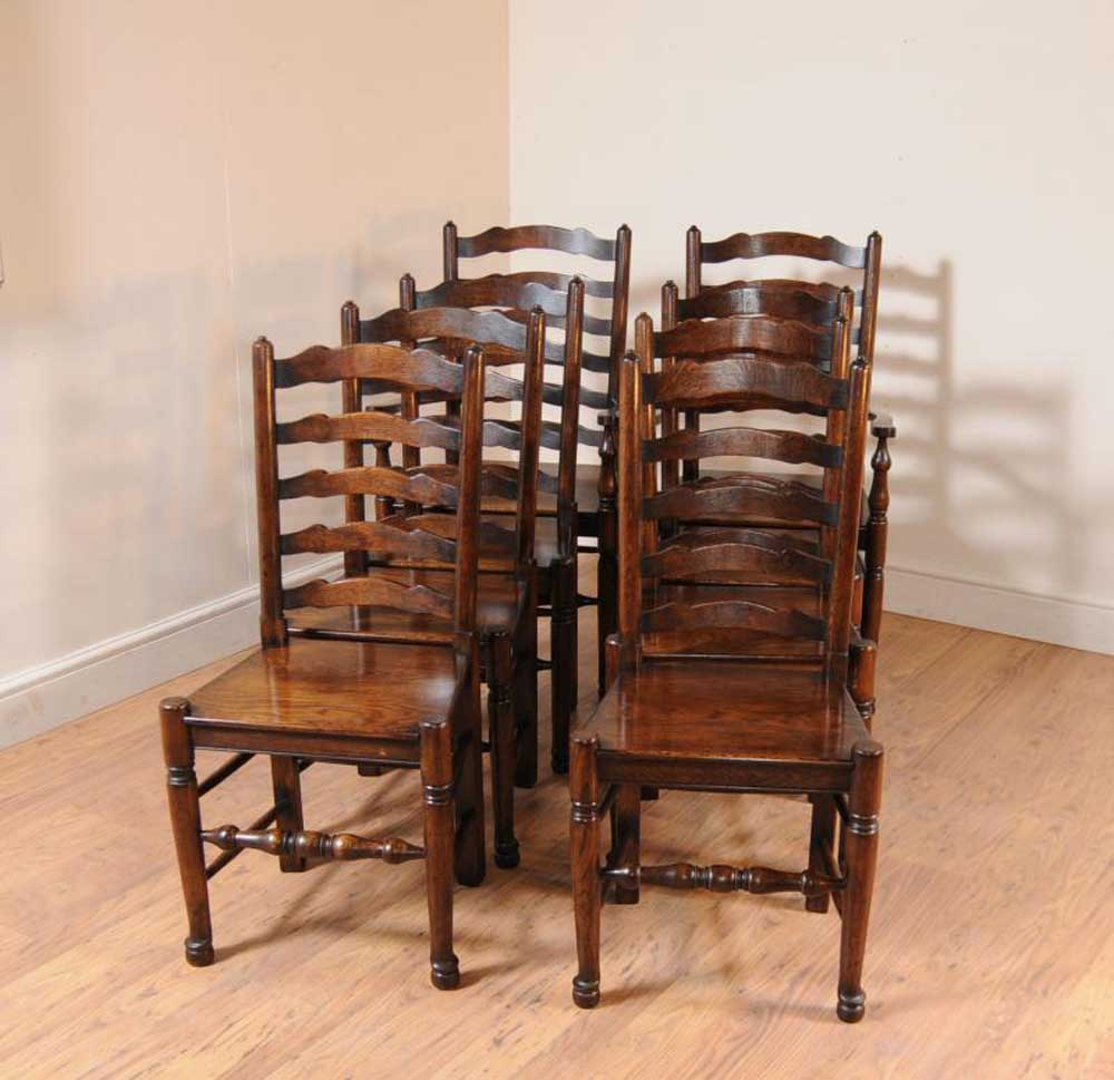 Chairs For Kitchen: Set 8 Oak Ladderback Chairs Kitchen Dining Chair Farmhouse