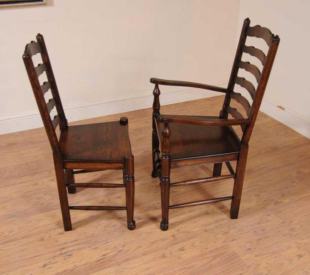 Set 8 Oak Ladderback Chairs Kitchen Dining Chair Farmhouse ...