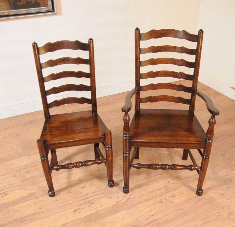 Oak Kitchen Chairs: Set 8 Oak Ladderback Chairs Kitchen Dining Chair Farmhouse