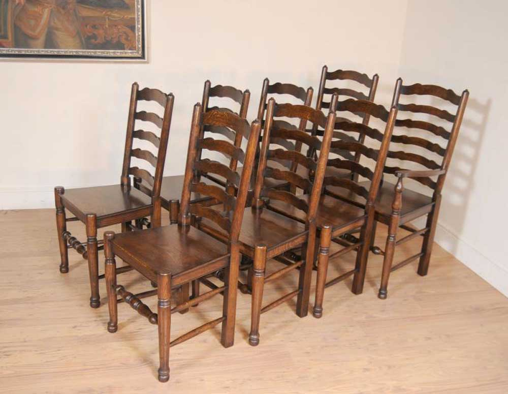 Set 8 Oak Ladderback Chairs Kitchen Dining Chair Farmhouse ...