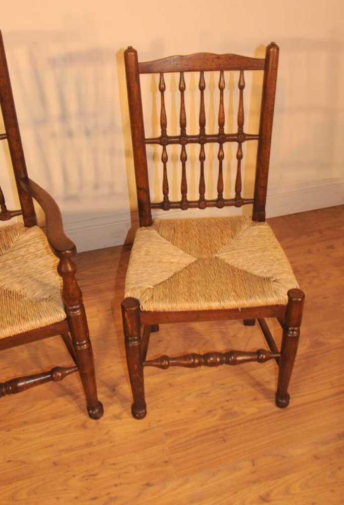 Oak Spindle Dining Chairs ~ Set oak spindleback kitchen dining chairs spindle back