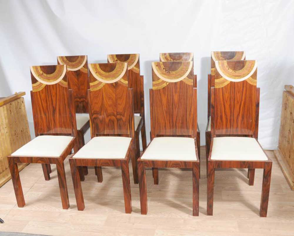 set art deco dining chairs inlay chair 1920s furniture. Black Bedroom Furniture Sets. Home Design Ideas