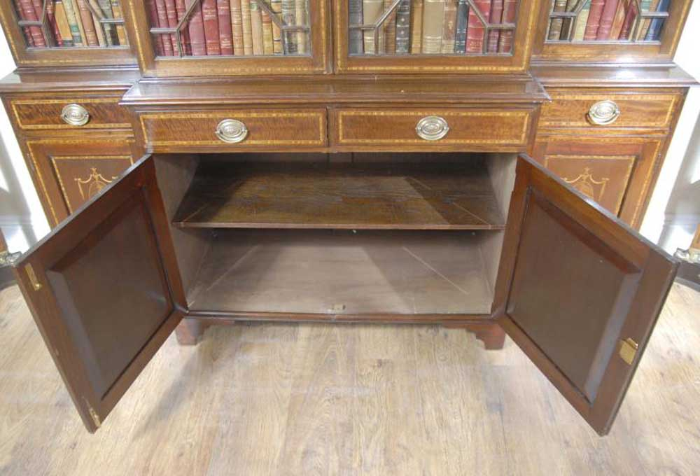 Sheraton Breakfront Bookcase Book Case English Furniture