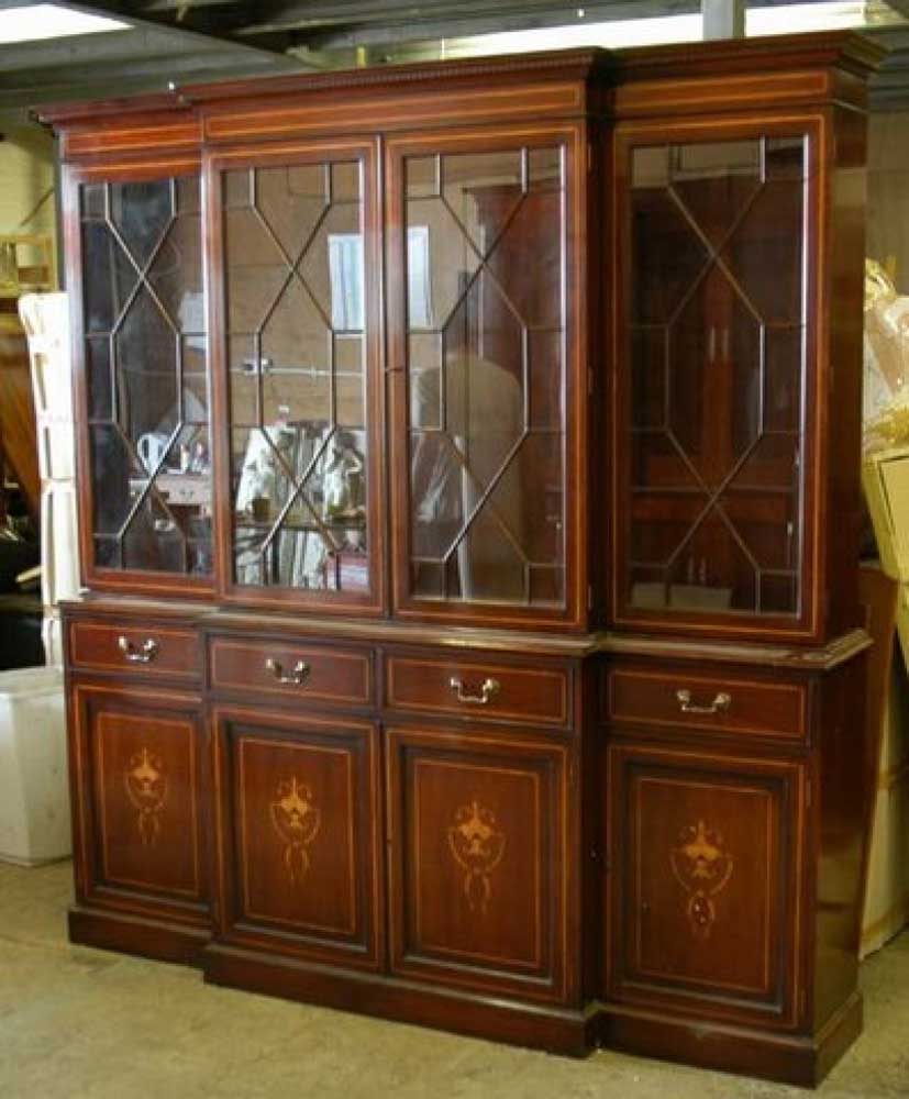 Antique Dining Chairs >> Sheraton Breakfront Bookcase in Mahogany