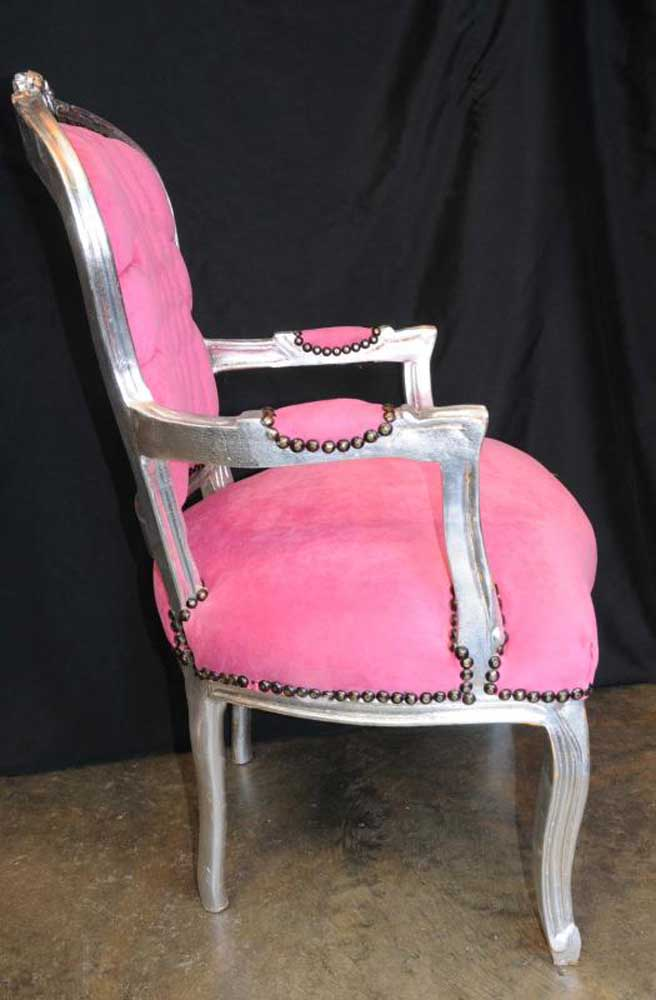 Lamps And Lighting >> Shocking Pink French Arm Chair Seat Silver Gilt