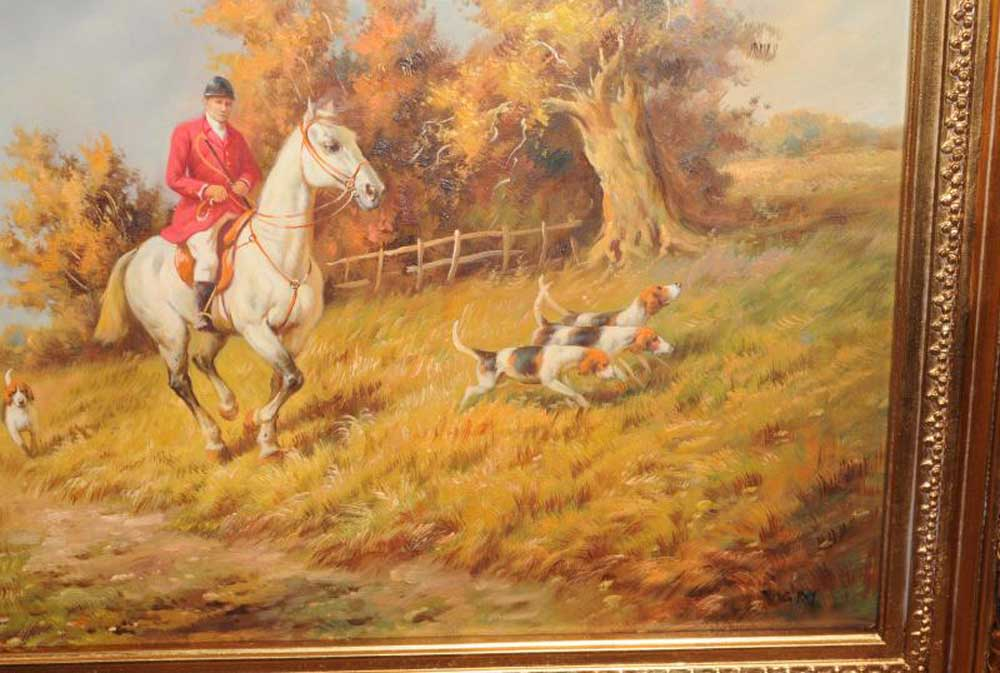 Signed Oil Painting English Hunt Scene Fox Hunting Rural