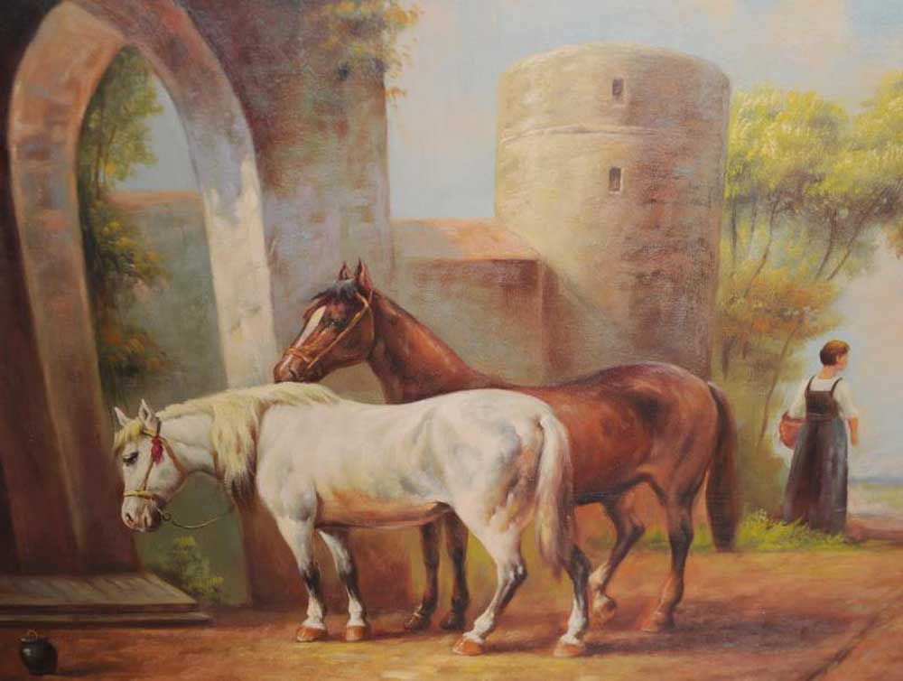 Signed Victorian Oil Painting Horse Equestrian Scene Gilt