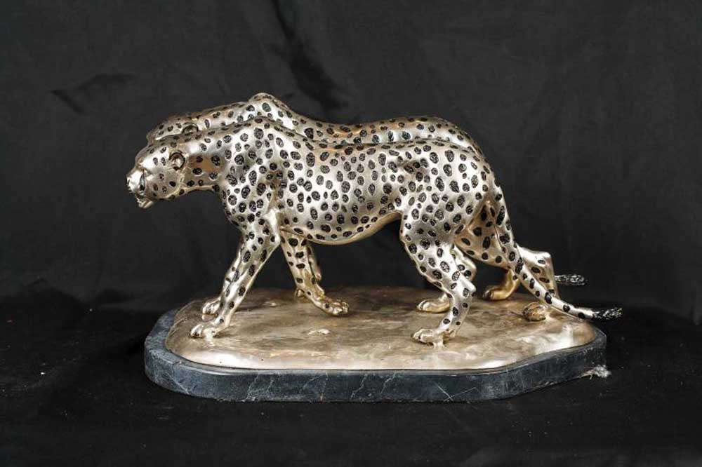 Silver Bronze Cheetah Statue Cat Cheetahs Deco Casting