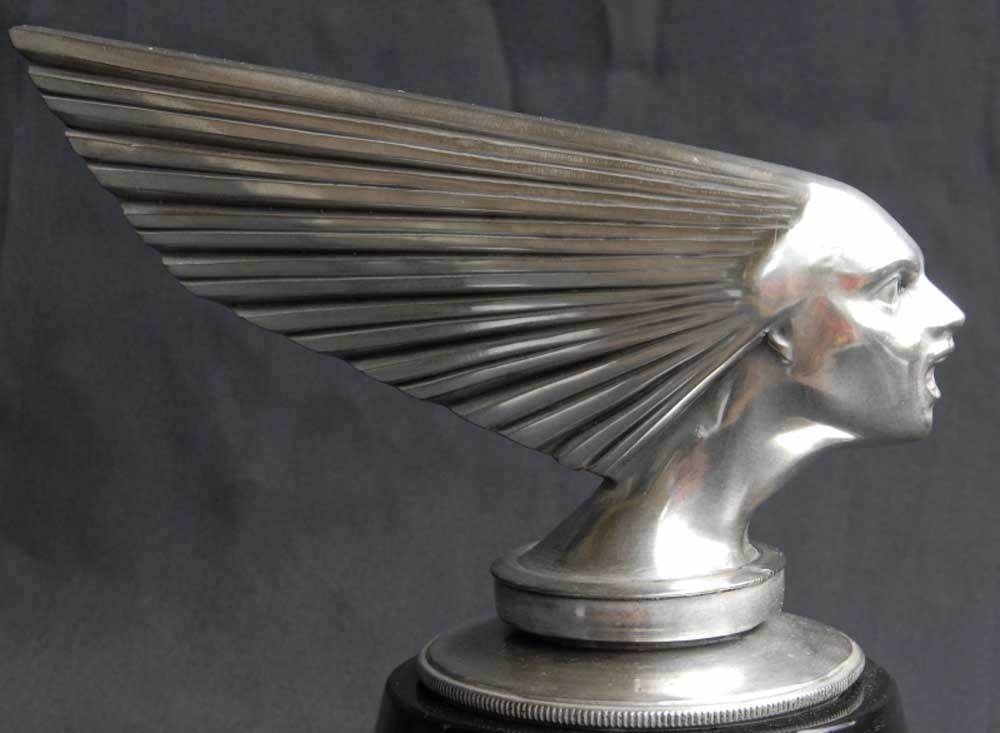 Art Deco: Art Deco Bronze Silver Lady Face Bust Mascot