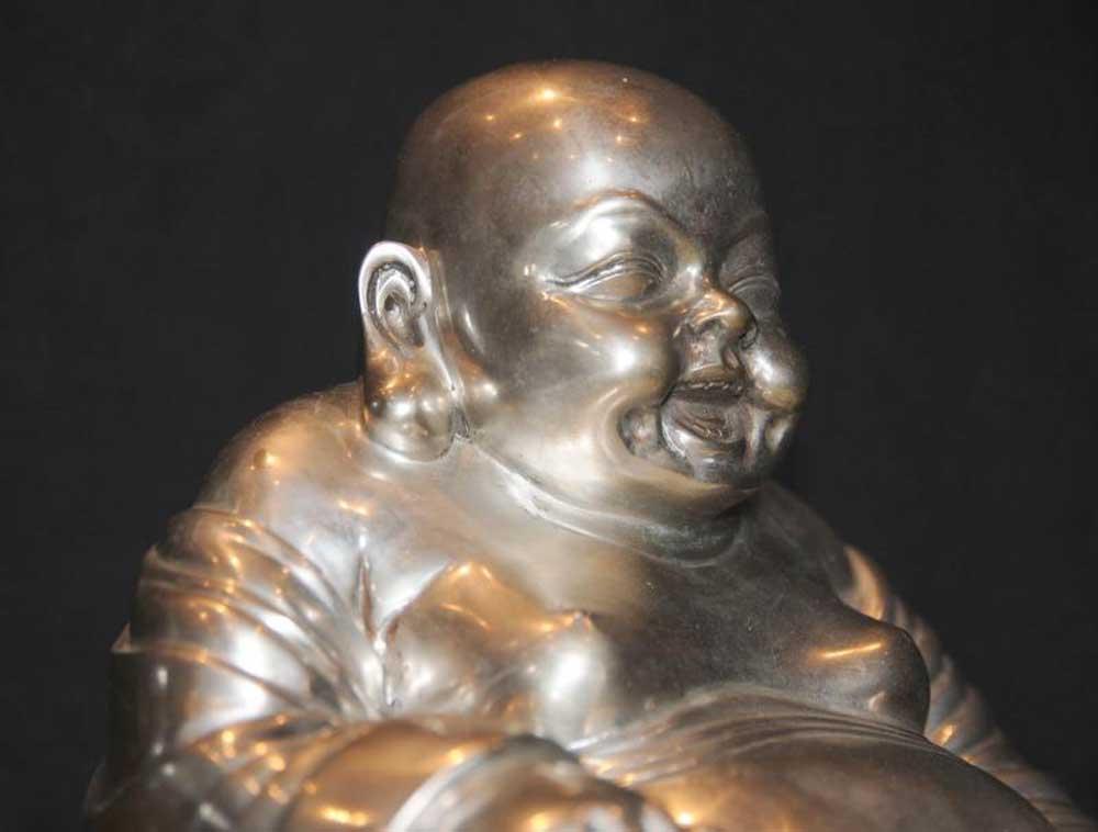 Silver Bronze Laughing Buddha Statue Budai Hotei Feng Shui