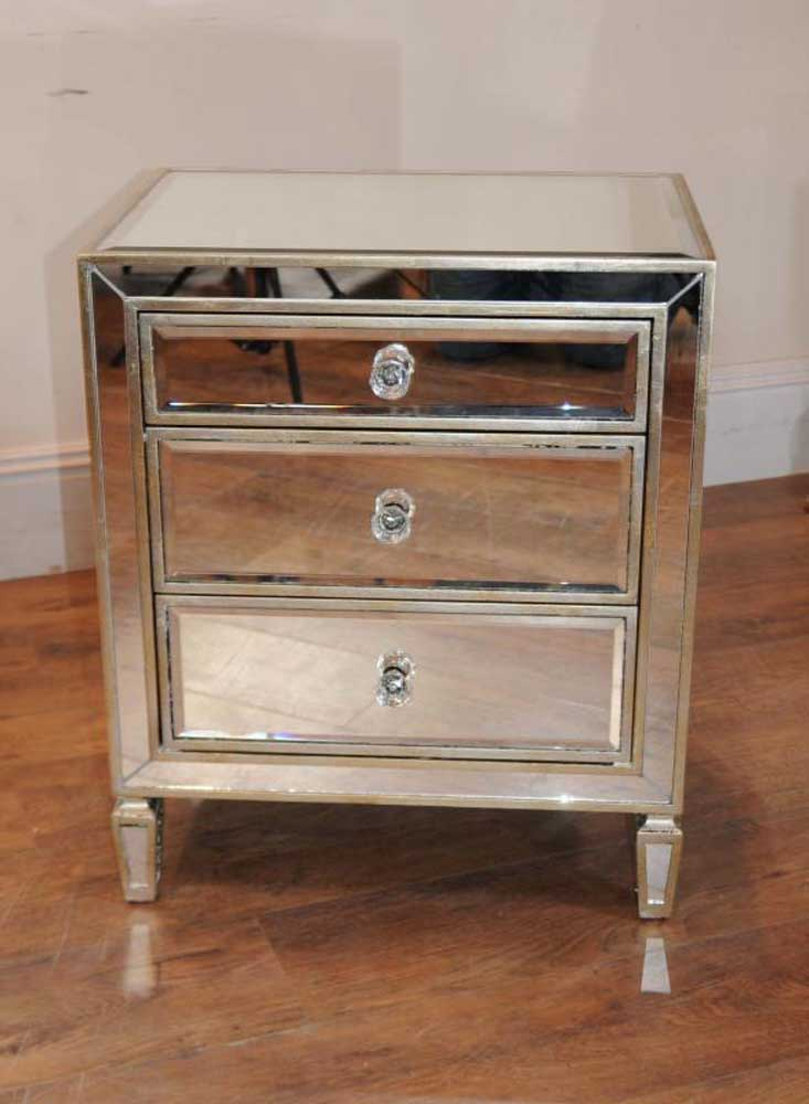 Mirrors Behind Bedside Tables: Single Mirrored Night Stand Bedside Chest Table