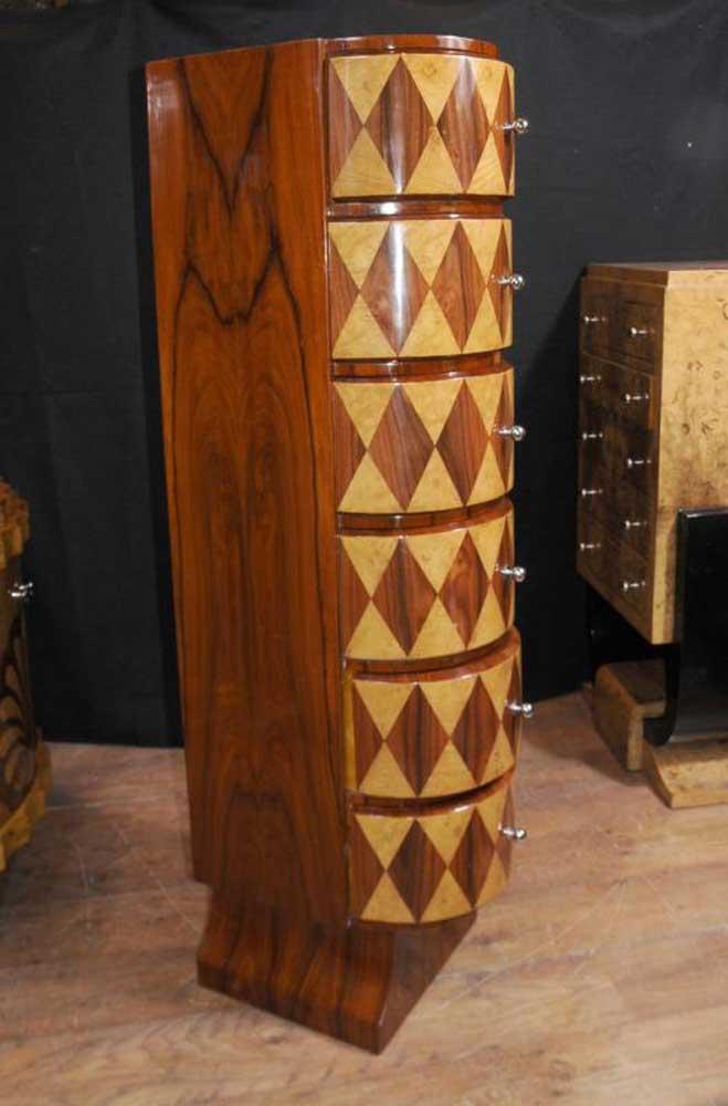 Slim Art Deco Inlay Chest Drawers Tall Boy 1920s Furniture