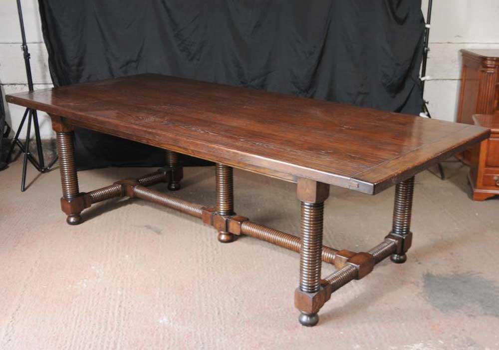leg oak refectory table 8 ft dining kitchen