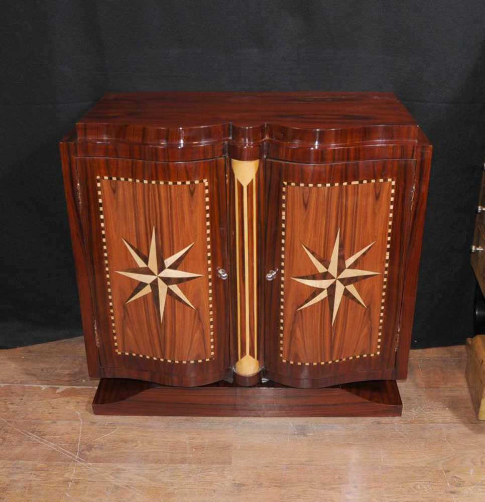 Star Inlay Art Deco Cabinet Chest Sideboard Buffet Server Furniture