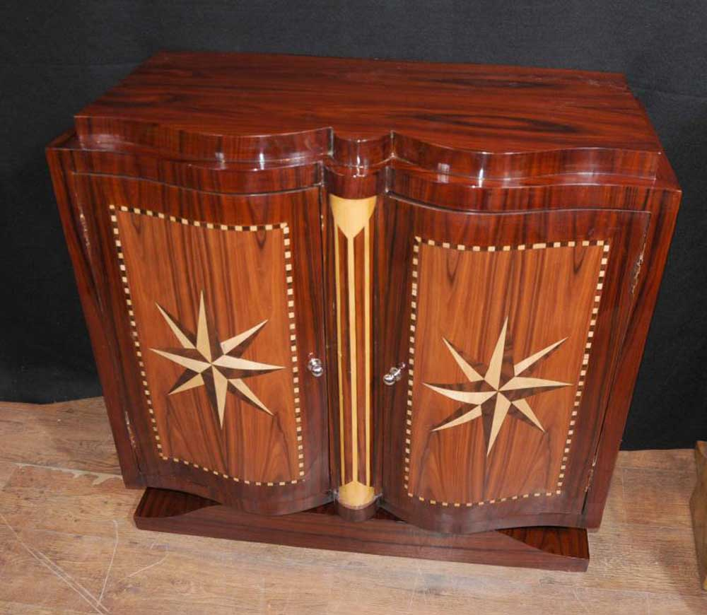 star inlay art deco cabinet chest sideboard buffet server. Black Bedroom Furniture Sets. Home Design Ideas