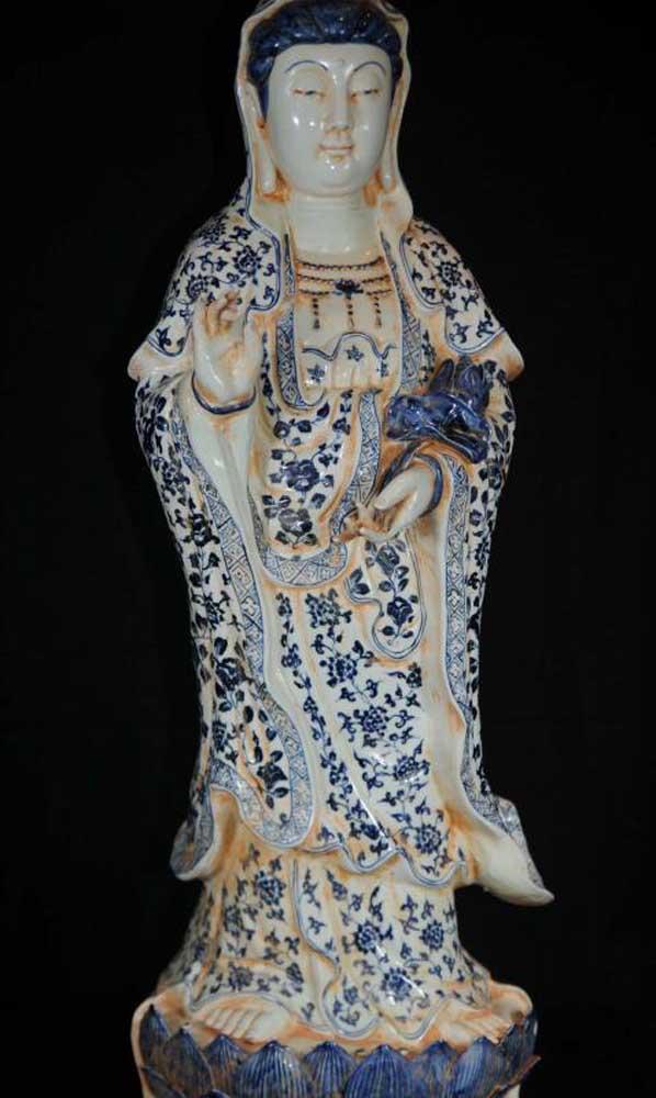 Tall Nanking Pottery Chinese Figurine Nanking Porcelain Statue