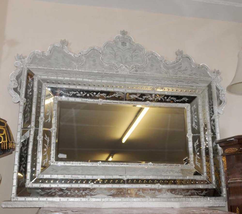 Venetian cut glass mantle mirror mirrors for Mantle mirror