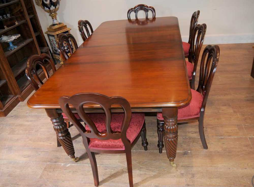 Victorian Balloon Back Chair Table Dining Suite Set Mahogany