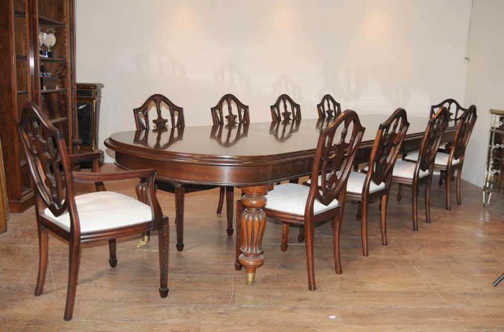 Victorian dining table set 10 federal chairs suite for Set de salle a diner