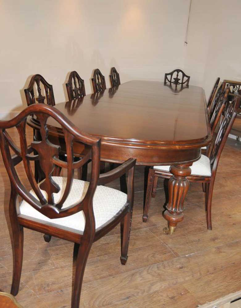 victorian dining table set 10 federal chairs suite. Black Bedroom Furniture Sets. Home Design Ideas