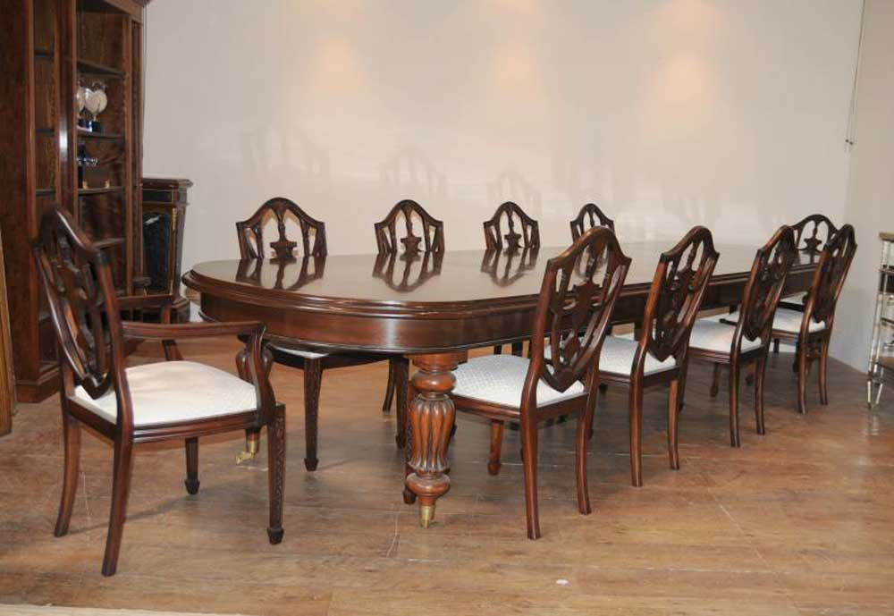 Details About Victorian Dining Table Set 10 Federal Chairs Suite