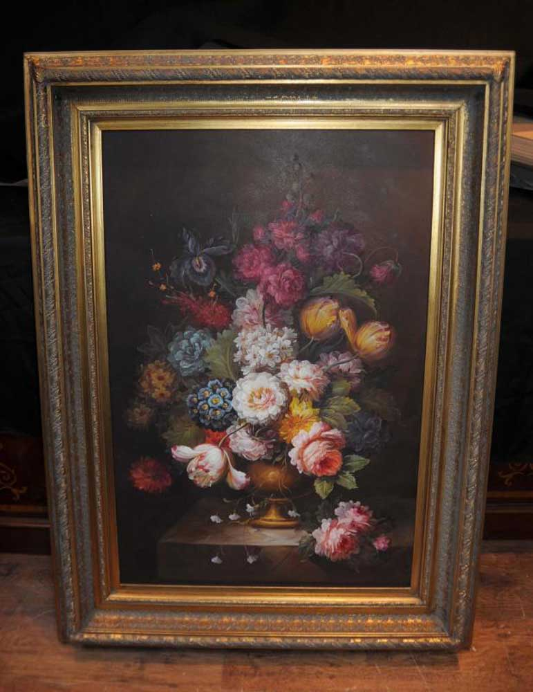 Victorian Floral Still Life Oil Painting Flowers Gilt Frame