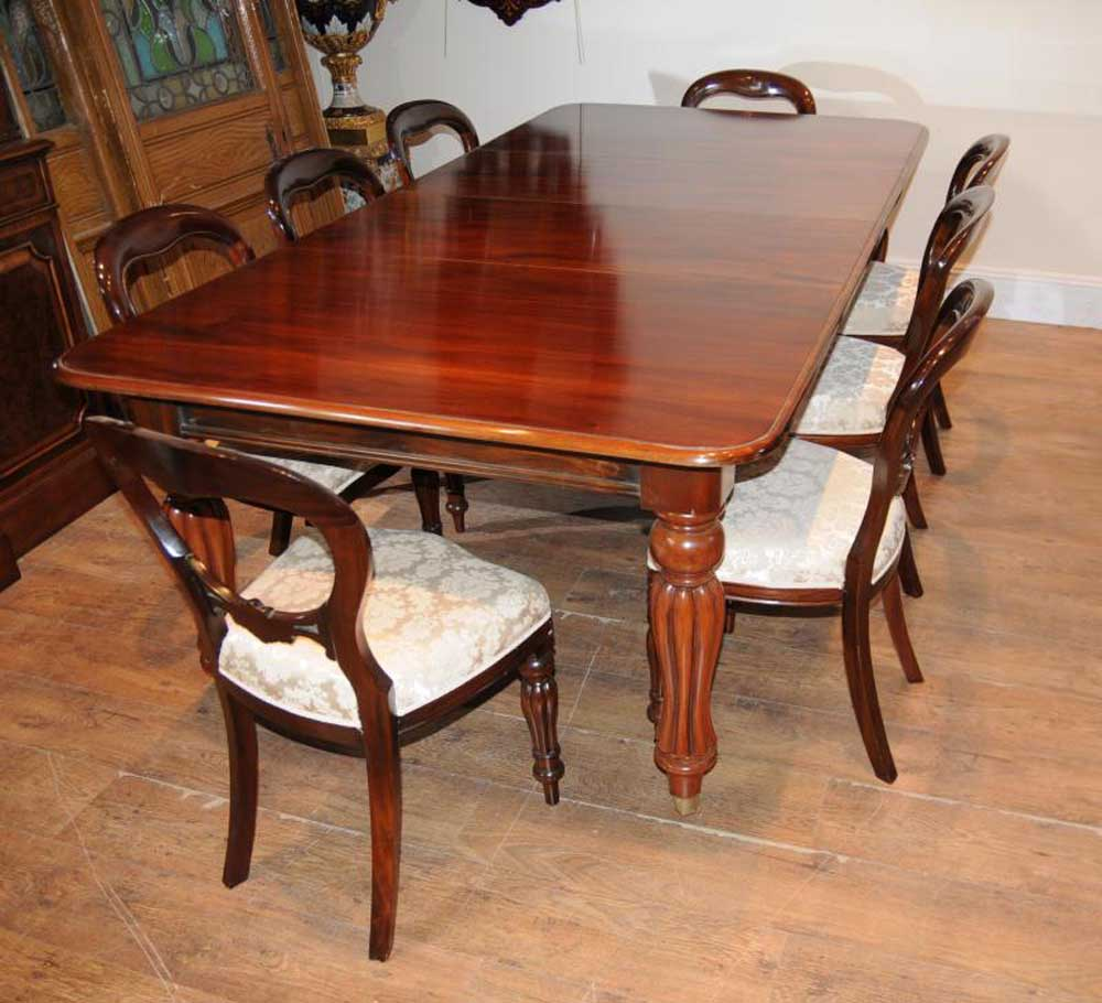 Victorian mahogany dining table set chairs balloon back for Mahogany dining table
