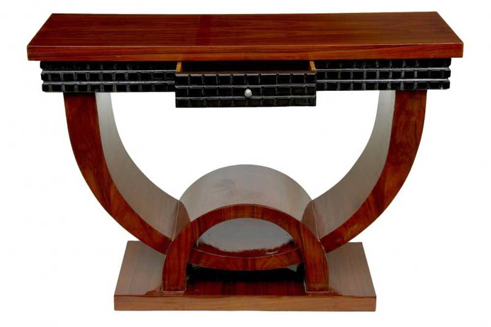 Walnut art deco console table hall tables vintage furniture for Table de nuit art deco