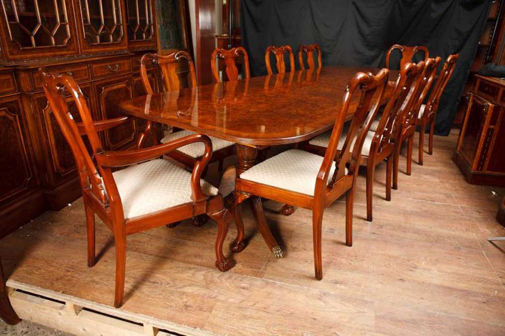 Walnut Dining Set Regency Table Amp Queen Anne Chairs Suite