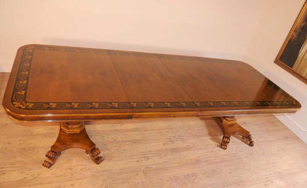 Walnut Inlay Regency Pedestal Dining Table 10 Feet Furniture Tables