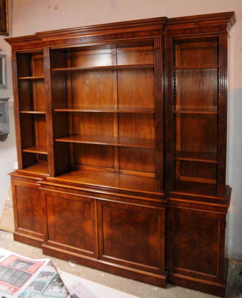 Walnut Regency Breakfront Bookcase Book Case XL Furniture