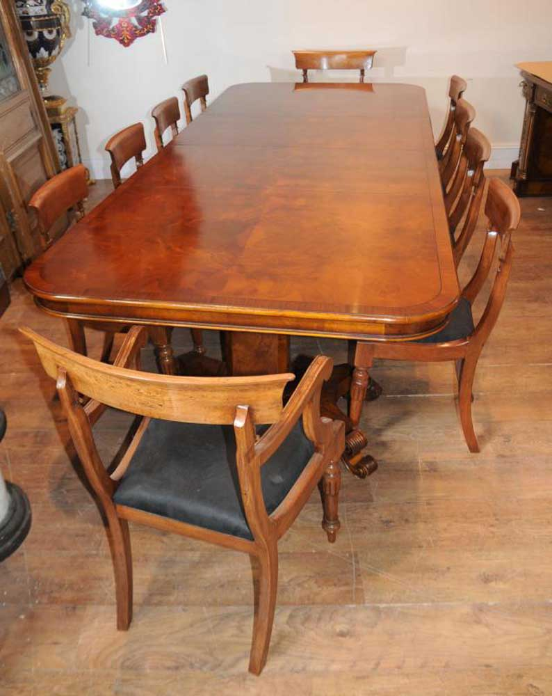 walnut regency dining table chairs set suite. Black Bedroom Furniture Sets. Home Design Ideas